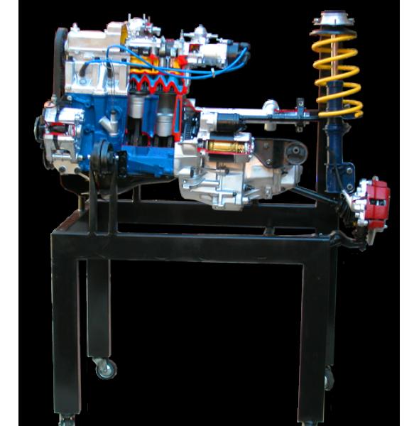 Двигатель ВАЗ 2108-09 с навесным оборудованием в сборе со сцеплением и коробкой передач, передней подвеской и рулевым механизмом, на подставке