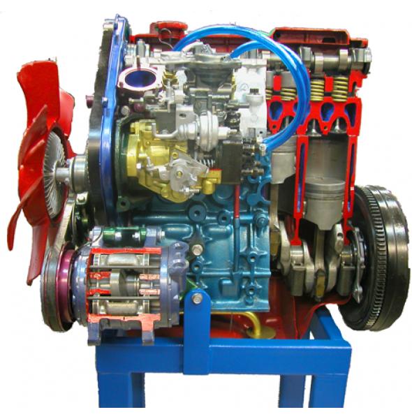 Дизельный двигатель в разрезе с навесным оборудованием в сборе со сцеплением в разрезе (без коробки)