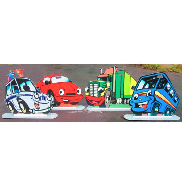 Набор  макетов транспортных средств (автобус,легковой автомобиль,грузовой автомобиль,автомобиль с синим проблесковым маячком)
