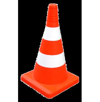Конус оградительный сигнальный, оранжевый упругий, 52 см (белые полосы)