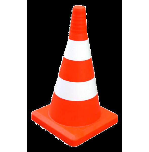 Конус оградительный сигнальный, оранжевый упругий, 52 см (белые полосы, с утяжелителем)