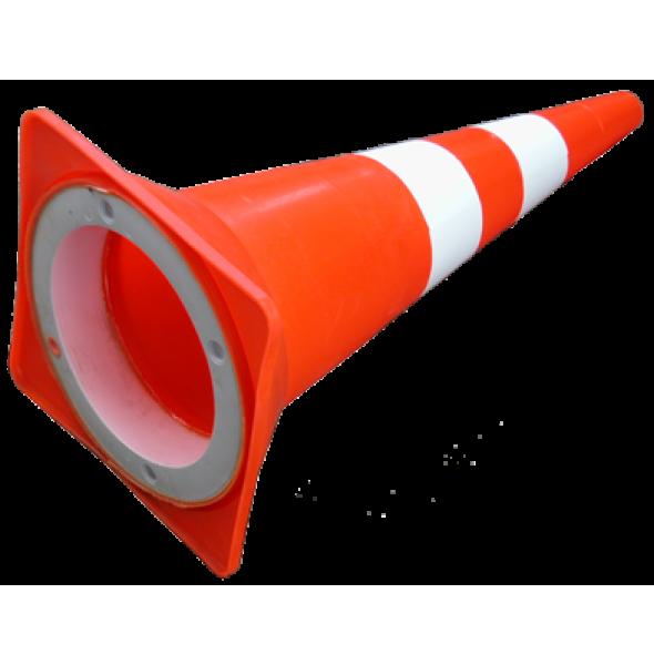 Конус сигнальный оранжевый (светоотражающие полосы,с внутренним утяжелителем), 75 см