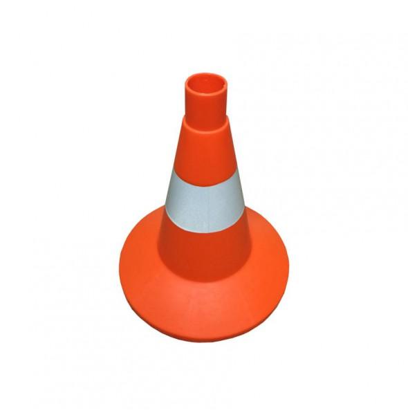 Конус оградительный сигнальный, оранжевый упругий, 32 см (с белой полосой)