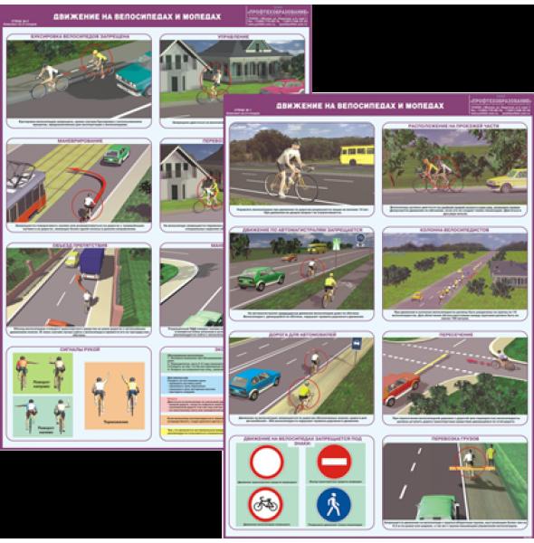 """Плакат """"Движение на велосипедах и мопедах"""""""