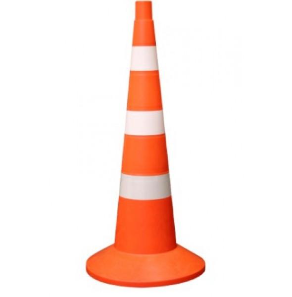 Конус оградительный сигнальный, оранжевый упругий, 75 см (белые полосы, с утяжелителем)
