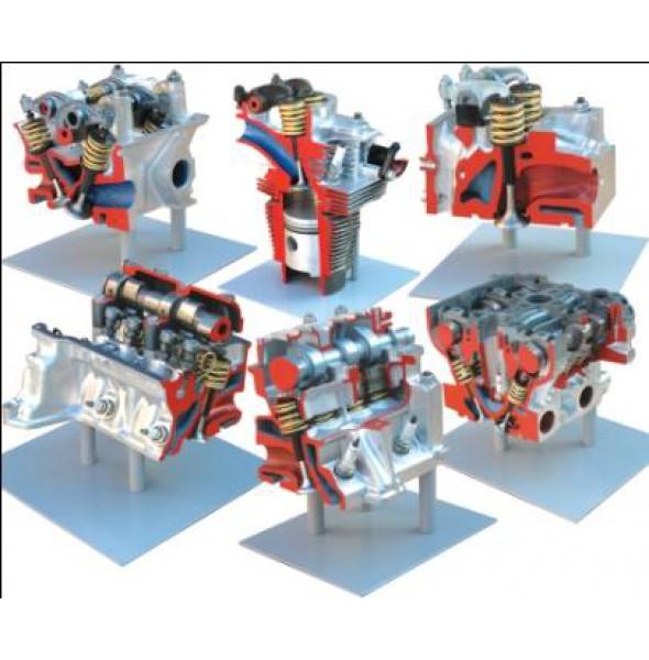 Комплект препарированных головок двигателя, представляющих различные типы ГРМ (Головка ВАЗ 2101, Головка ВАЗ 2108,  Головка 16-клапанная ВАЗ 212,  Головка Москвич 2140,  Головка ЗАЗ 968, Головка КАМАЗ)