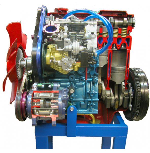 Дизельный двигатель в разрезе с навесным оборудованием,  в сборе со сцеплением в разрезе. (без коробки) (турбированный)