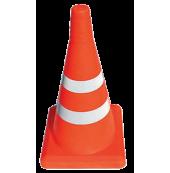 Конус оградительный сигнальный, оранжевый упругий, 52 см (светоотражающие полосы, с утяжелителем)
