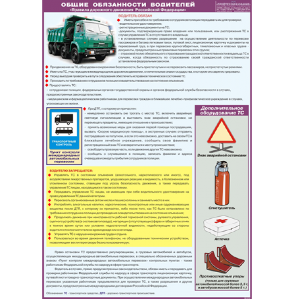 "Плакат ""Общие обязанности водителей"""