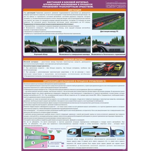 """Плакат """"Дистанция и боковой интервал. Организация наблюдения в процессе управления транспортным средством"""""""