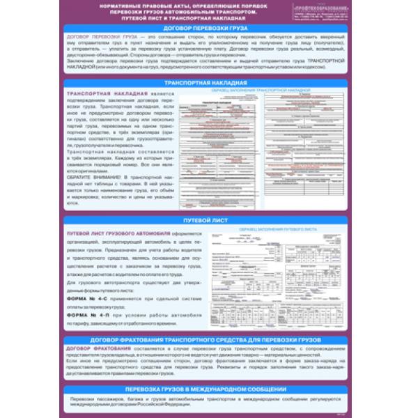 """Плакат """"Нормативные правовые акты, определяющие порядок перевозки грузов автомобильным транспортом, путевой лист и транспортная накладная"""""""
