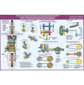 """Плакат """"Схемы трансмиссии мопедов с различными типами приводов Общее устройство первичной (моторной) передачи. Общее устройство и принцип работы сцепления"""""""