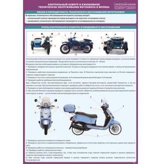"""Плакат """"Контрольный осмотр и ежедневное техническое обслуживание мотоцикла и мопеда"""""""